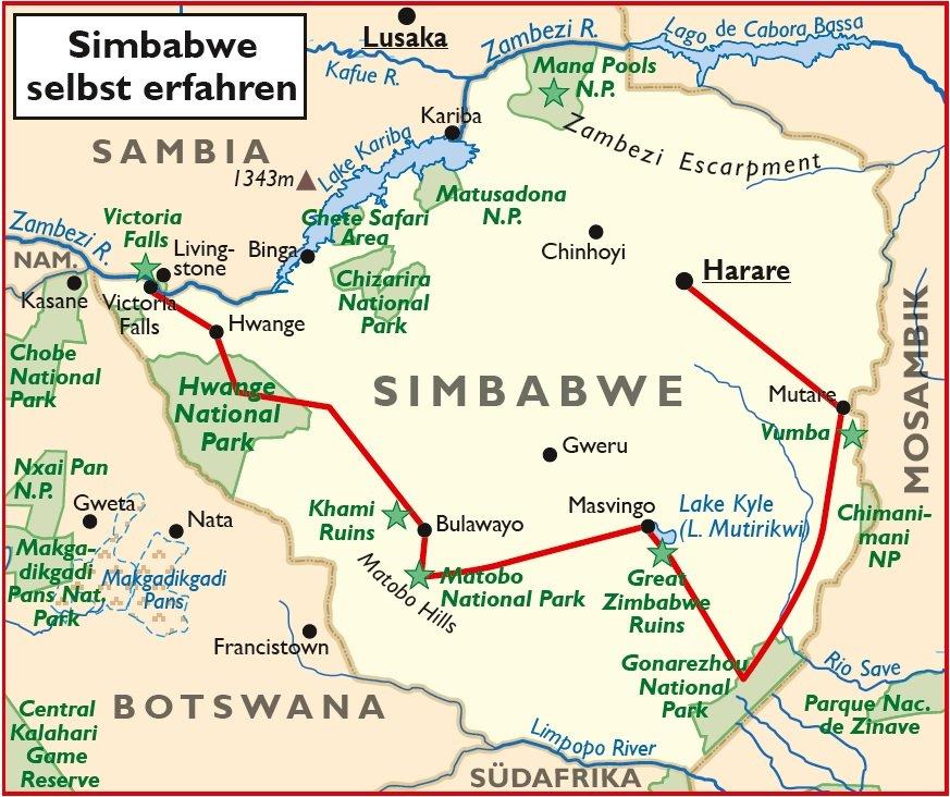 Simbabwe Selbstfahrertour 4x4 Fahrzeug Harare Victoria Falls Übersichtskarte Iwanowskis Reisen - afrika.de