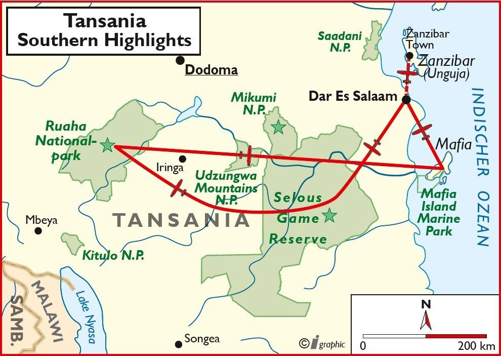 Tansania Southern Highlights Flugsafari Mafia Island Sansibar Iwanowskis Reisen - afrika.de