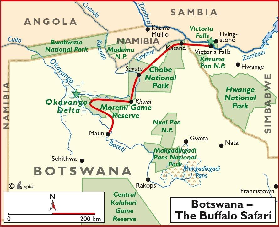 Botswana Safari Bushways Übersichtskarte Iwanowskis Reisen - afrika.de