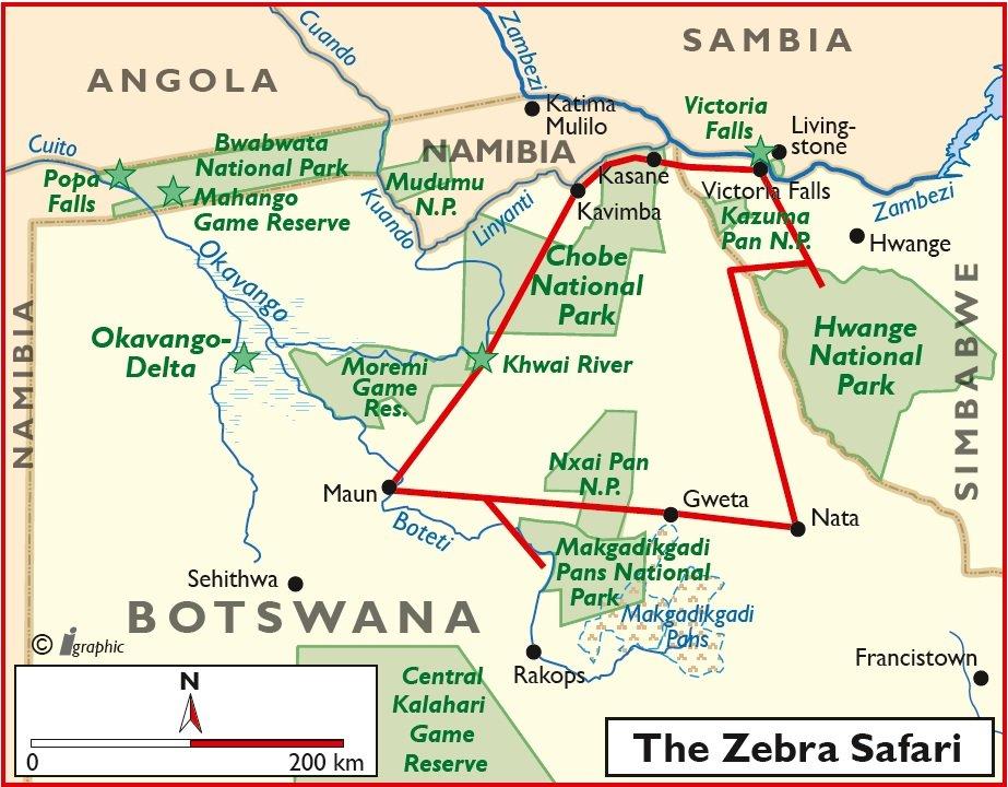 Botswana Zebra Safari geführt Übersichtskarte Iwanowskis Reisen - afrika.de