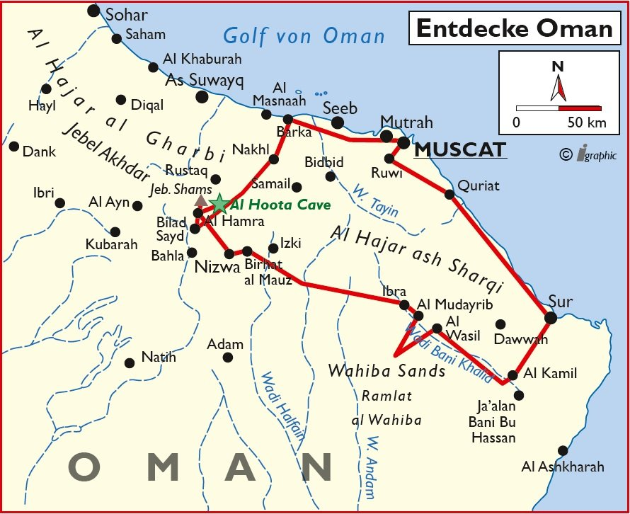 Oman Maskat Sur Nizwa Selbstfahrer Reise Rundreise Übersichtskarte Iwanowskis Reisen - afrika.de