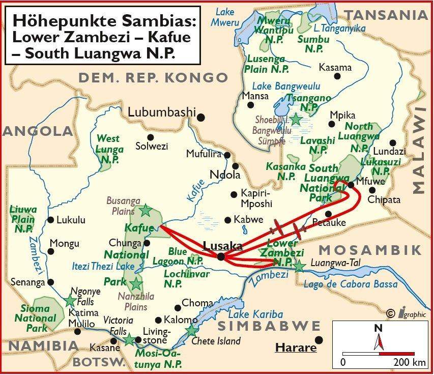 Sambia Höhepunkte Rundreise Safari Lusaka South Luangwa Lower Zambezi Kafue Übersichtskarte Iwanowskis Reisen - afrika.de