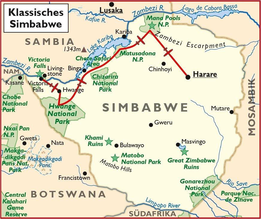 Simbabwe Safari Flugsafari Harare Victoria Falls Übersichtskarte Iwanowskis Reisen - afrika.de