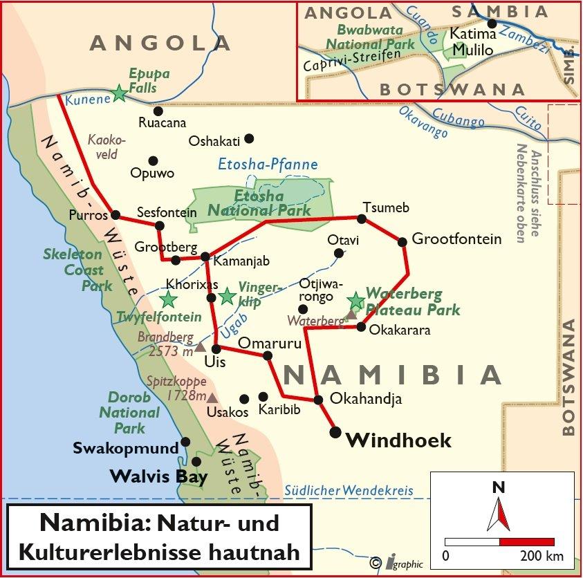 Namibia Rundreise Selbstfahrertour Natur Kultur 4x4 Fahrzeug Übersichtskarte Iwanowskis Reisen - afrika.de