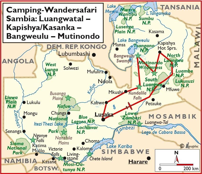 Sambia Camping Wander Safari Luangwa Bangweulu Kasanka Übersichtskarte Iwanowskis Reisen - afrika.de