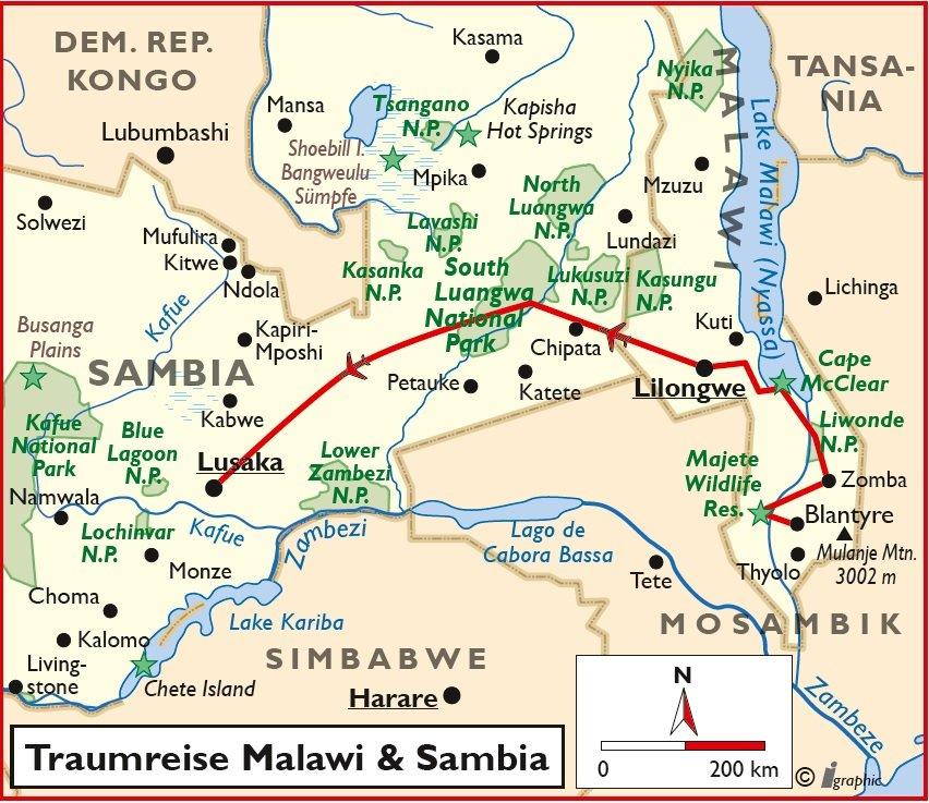 Malawi und Sambia Traumreise Safari Baden Rundreise Lusaka Lilongwe Lake Malawi Übersichtskarte Iwanowskis Reisen - afrika.de