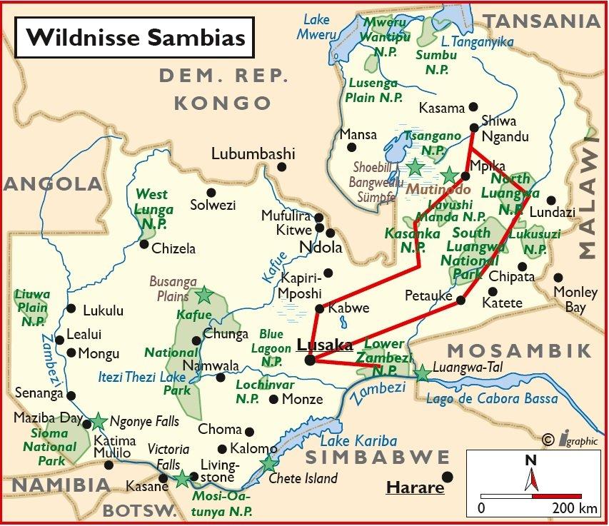 Sambia Safari Rundreise Luangwa Lusaka Lower Zambezi Übersichtskarte Iwanowskis Reisen - afrika.de