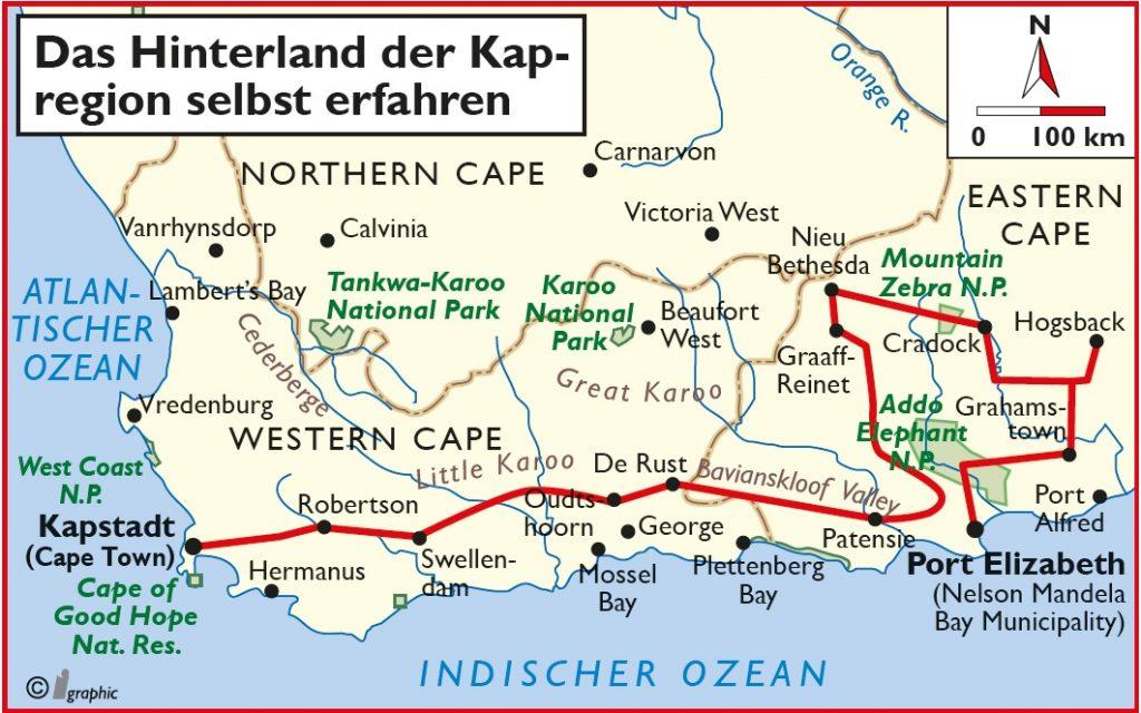 Südafrika Selbstfahrertour Hinterland Kapregion Übersichtskarte Iwanowskis Reisen - afrika.de