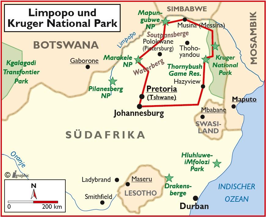 Südafrika Selbstfahrerreise Limpopo Kruger National Park Übersichtskarte Iwanowskis Reisen - afrika.de