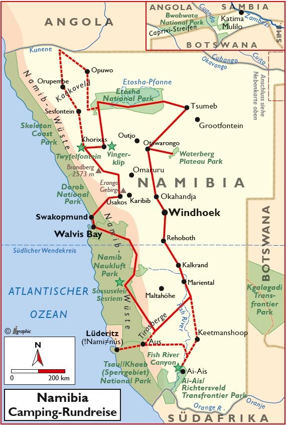 Namibia Selbstfahrer Camping Rundreise Übersichtskarte Iwanowskis Reisen - afrika.de