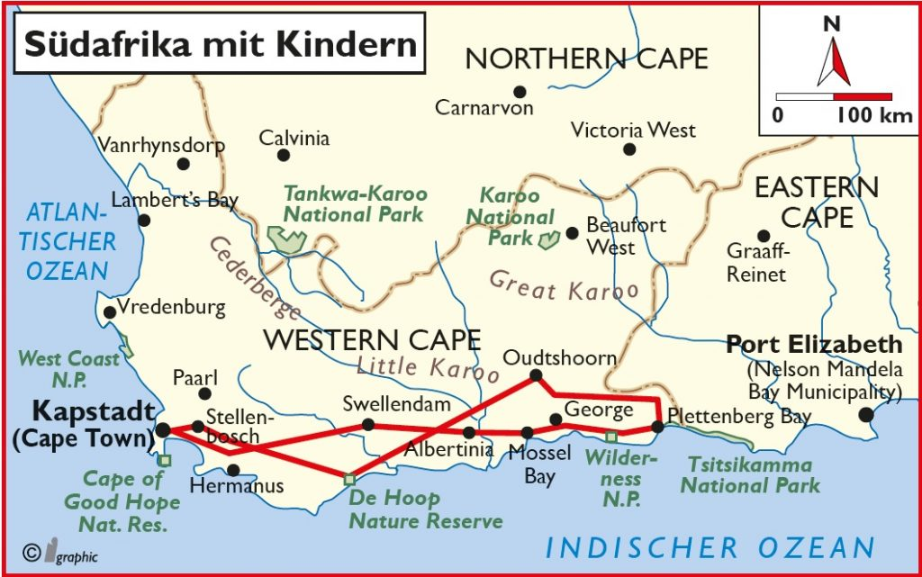 Südafrika Mietwagenreise mit Kindern Übersichtskarte Iwanowskis Reisen - afrika.de