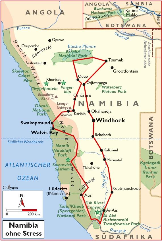 Namibia Selbstfahrertour ohne Stress Übersichtskarte Iwanowskis Reisen - afrika.de