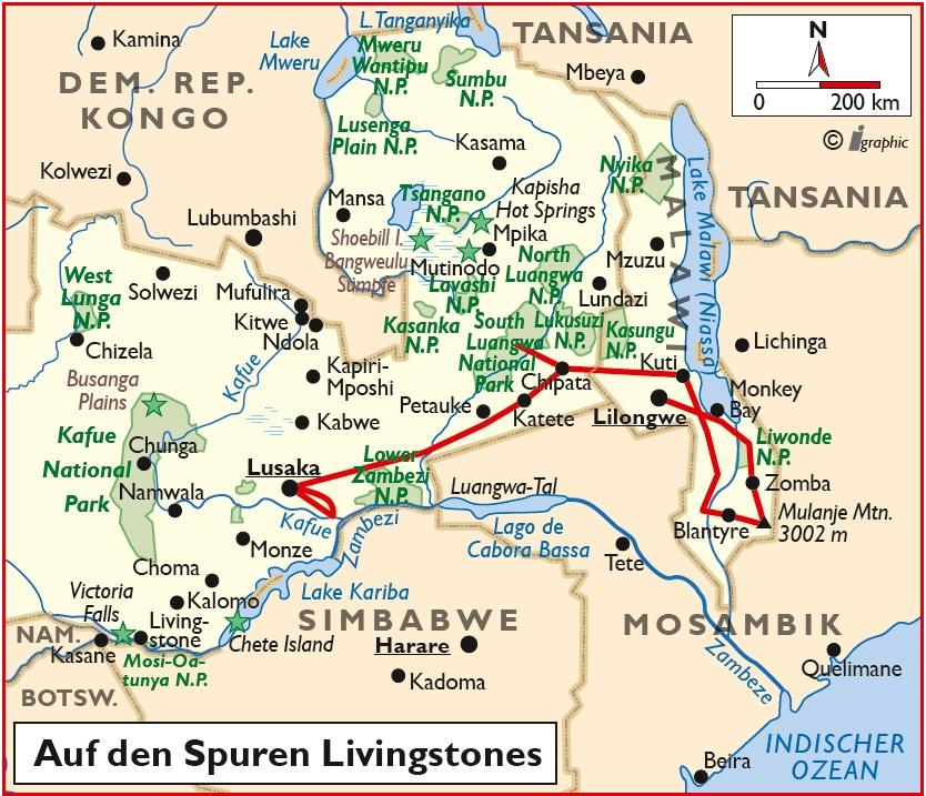 Malawi Sambia Gruppenreise Übersichtskarte Iwanowskis Reisen - afrika.de
