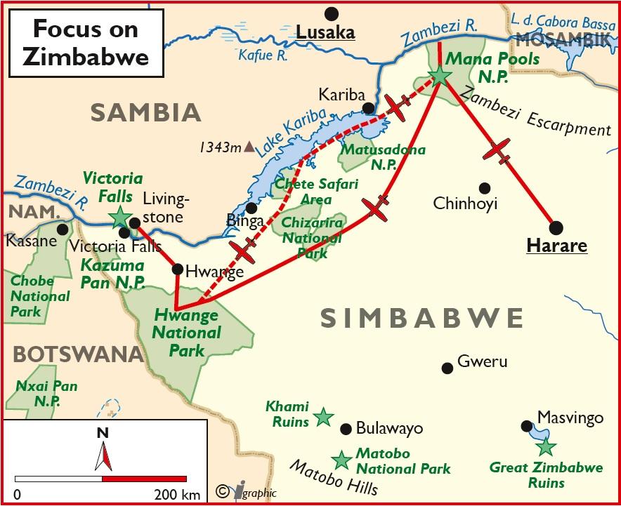 Simbabwe Flugsafari Übersichtskarte Iwanowskis Reisen - afrika.de