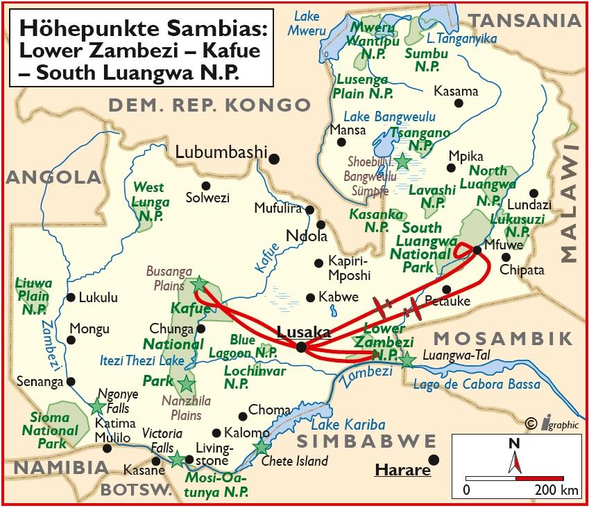 Sambia Safari Übersichtskarte Iwanowskis Reisen - afrika.de