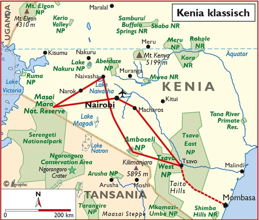 Kenia Safari Nairobi Mombasa Übersichtskarte Iwanowskis Reisen - afrika.de