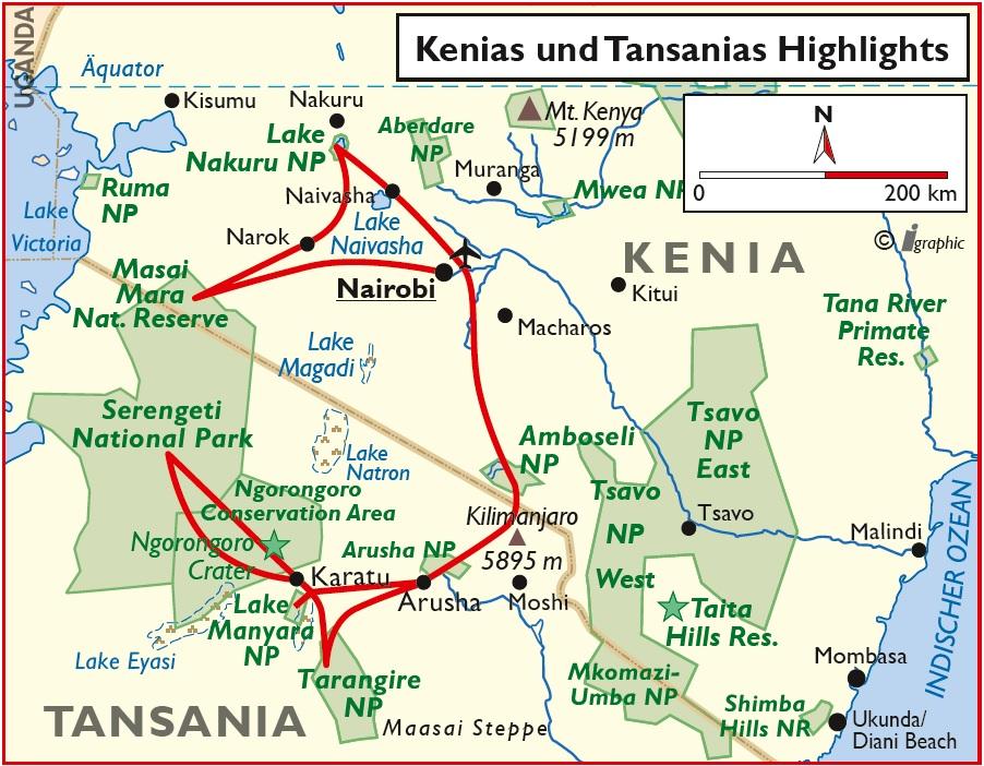 Kenia Tansania Safari Übersichtskarte Iwanowskis Reisen - afrika.de