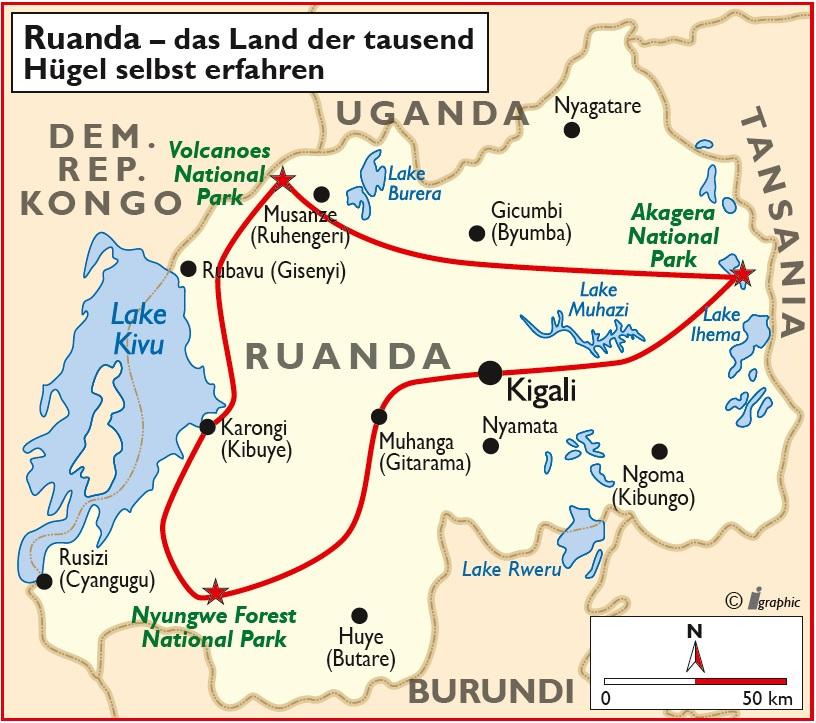 Ruanda Selbstfahrerreise Übersichtskarte Iwanowskis Reisen - afrika.de