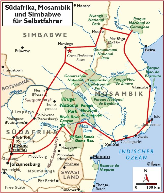 Südafrika Mosambik Simbabwe Selbstfahrerreise Übersichtskarte Iwanowskis Reisen - afrika.de
