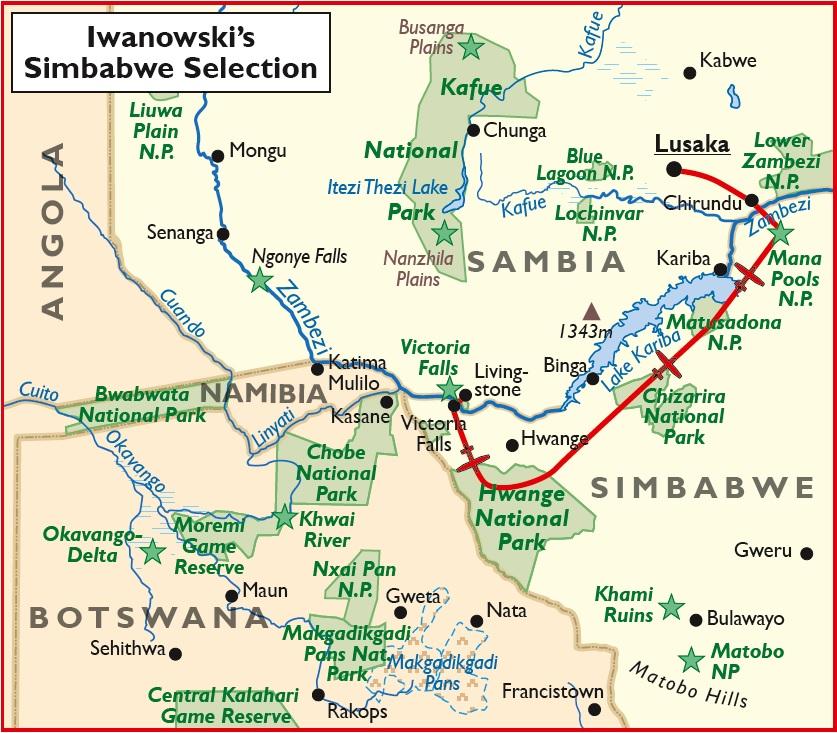 Simbabwe Selection Luxussafari Übersichtskarte Iwanowskis Reisen - afrika.de