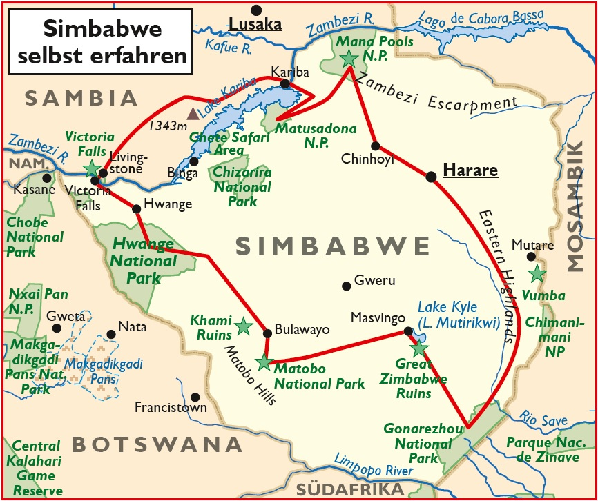 Simbabwe Selbstfahrertour Übersichtskarte Iwanowskis Reisen - afrika.de