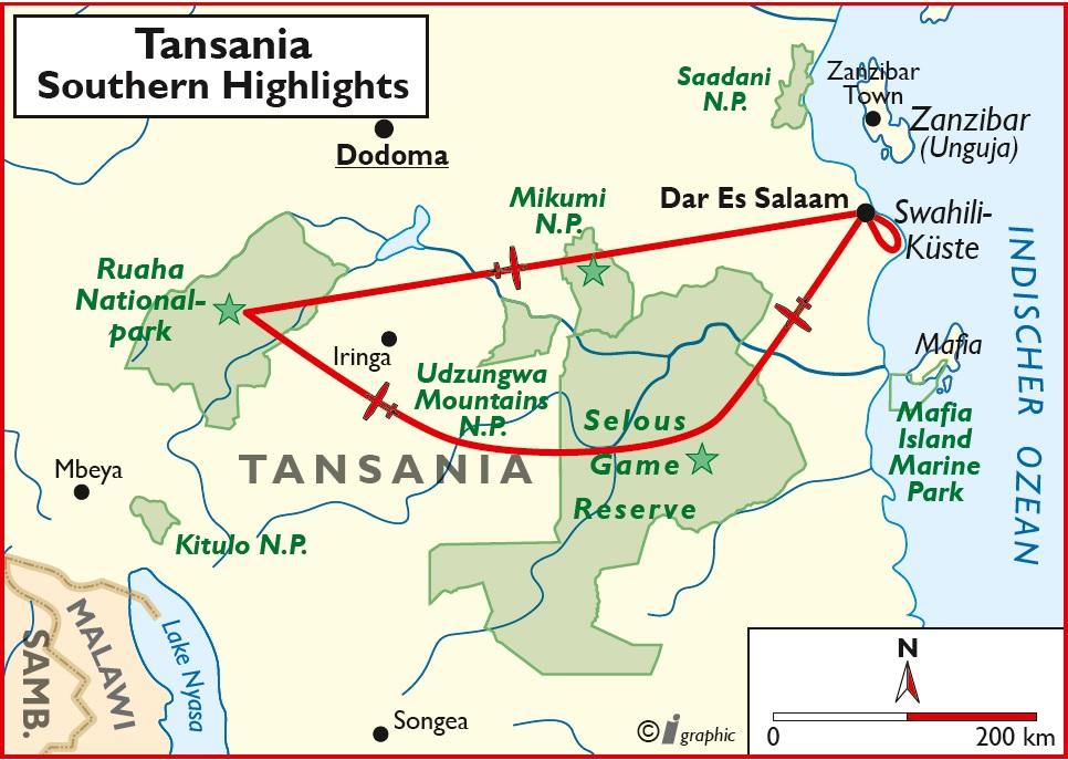 Tansania Flugsafari Übersichtskarte Iwanowskis Reisen - afrika.de