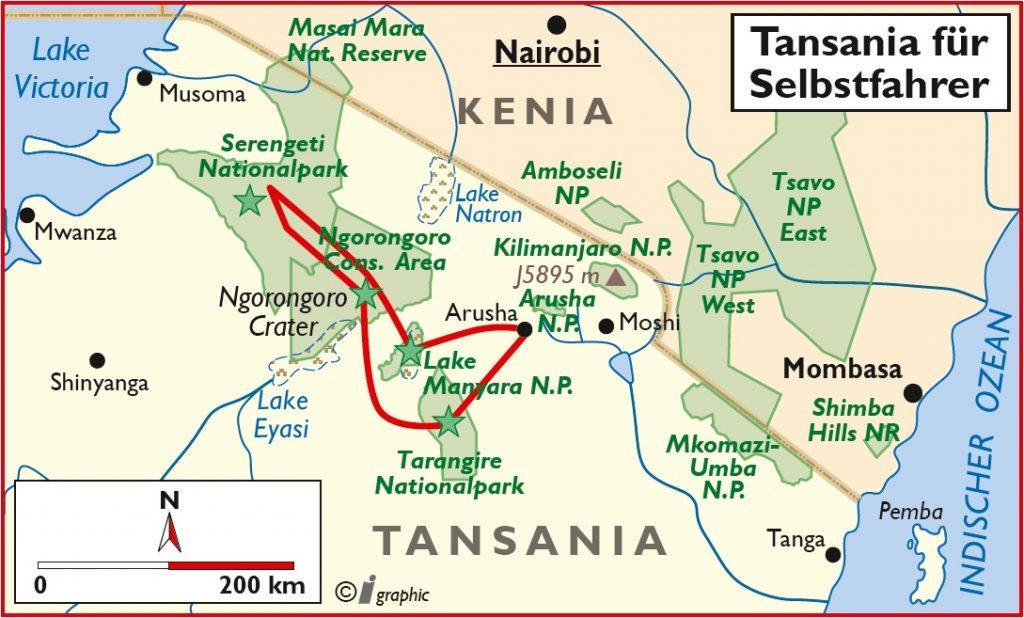Tansania Selbstfahrertour Übersichtskarte Iwanowskis Reisen - afrika.de
