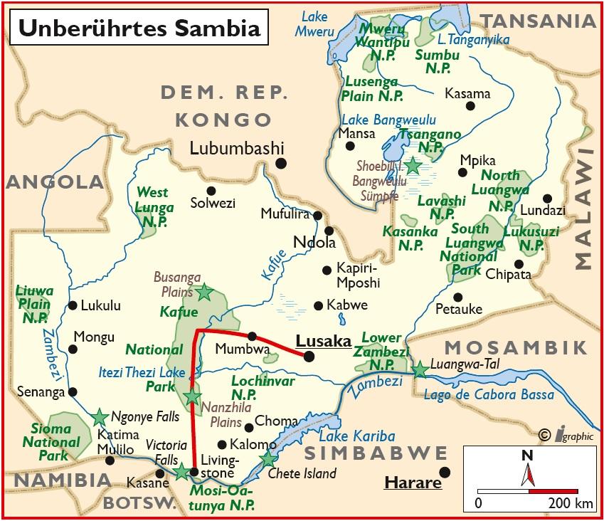 Sambia Safari Livingstone Lusaka Übersichtskarte Iwanowskis Reisen - afrika.de