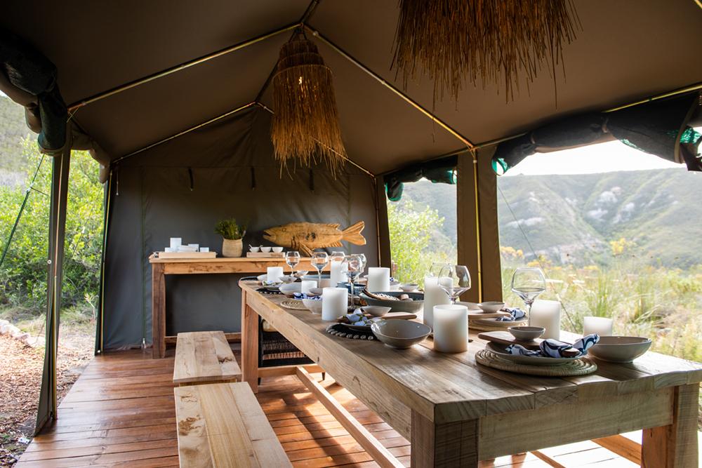 Südafrika Western Cape George Gondwana Game Reserve Pioneer Trail Wanderung Speisezelt Iwanowskis Reisen - afrika.de