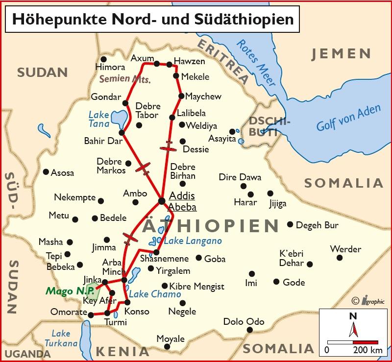 Äthiopien Rundreise Höhepunkte Nord-Südäthiopien Übersichtskarte Iwanowskis Reisen - afrika.de