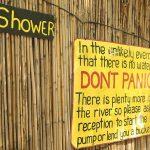 Namibia Divundu Popa Falls Ngepi Camp Schild Iwanowskis Reisen - afrika.de
