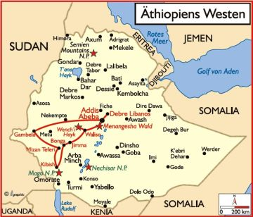 Äthiopien Westen geführte Rundreise Karte - afrika.de