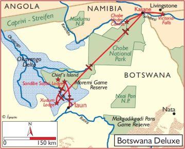 Botswana Flugsafari Deluxe Übersichtskarte - afrika.de