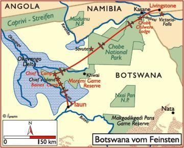 Botswana Flugsafari Karte - afrika.de