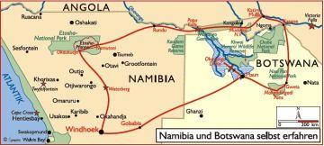 namibia botswana reisen