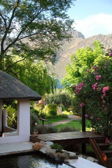 Blick in den üppigen Garten der Mimosa Lodge Montagu Südafrika