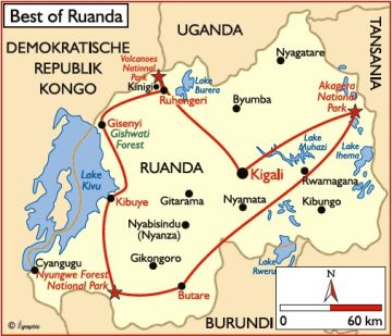 Ruanda Übersichtskarte Iwanowskis Reisen - afrika.de