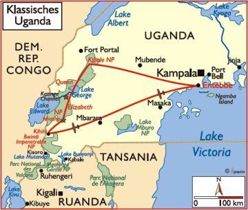 Ugangda Klassisches Uganda Übersichtskarte Iwanowskis Reisen - afrika.de